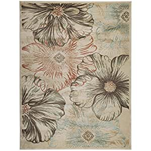 Admire Home Living Gallina Flower Area rug (5'3 x 7'3) Cream 6' x 8', 5' x 8', 5' x 7' Brown