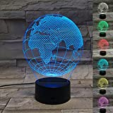 Globe 3D Illusion Lamp Night Light,Color Changed LED Desk Lamp 3D Night Light for Home Decoration Gifts Toys for Children Kids,Flat Acrylic Panel and ABS Base