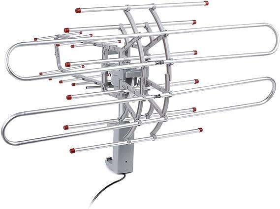 COOCHEER al aire libre WiFi Antena amplificada para Smart TV Digital antena de TV HD, HDTV 28 – 32 db rotación 360 grados Control remoto UHF/VHF/FM: Amazon.es: Electrónica