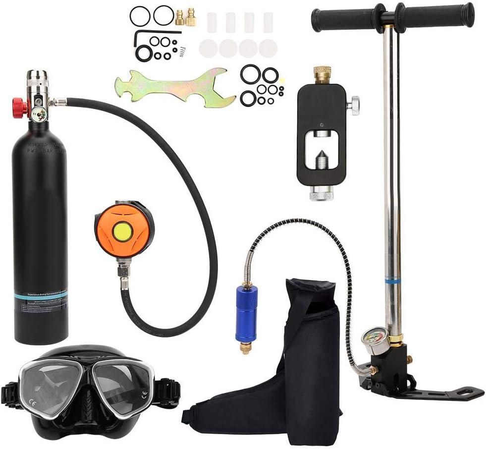 Tanque de Buceo Portátil, 1L Aviación Aluminio Mini Buceo Tanque de Oxígeno Respirador Subacuático Bomba de Aire de Alta Presión Cilindro de Buceo Kit de Equipo de Buceo Snorkeling con Inflador