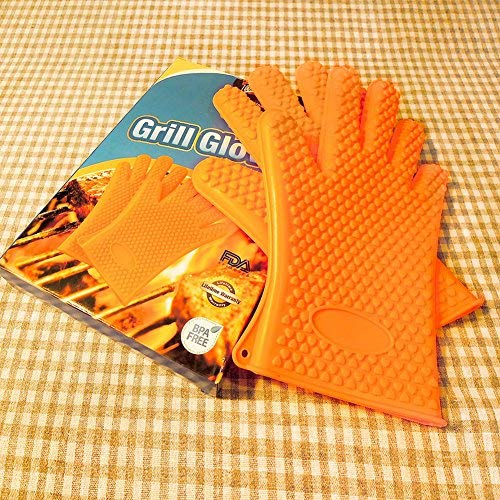 Toodala Silicone Grilling BBQ Gloves Thickened to 4mm, More Heat Resistant for Barbecue, Oven Baking, Smoking and Cooking Potholder -