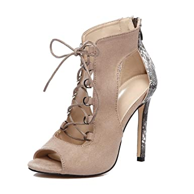 Frauen Roman Schuhe Hohle Sandalen Stiefel Stiletto High Heel Damen Peep Toe Party Abendschuhe