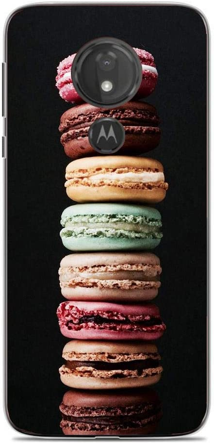 Soft Clear Gel Fundas Compact Print Anti-Yellowing Cover Case for Moto G7 Power-Food for Macarons Biscuits 7