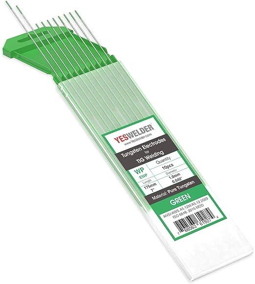 ".040/""-1//16/""US Seller Fast 10-pk TIG Welding Tungsten Electrode Pure Green"