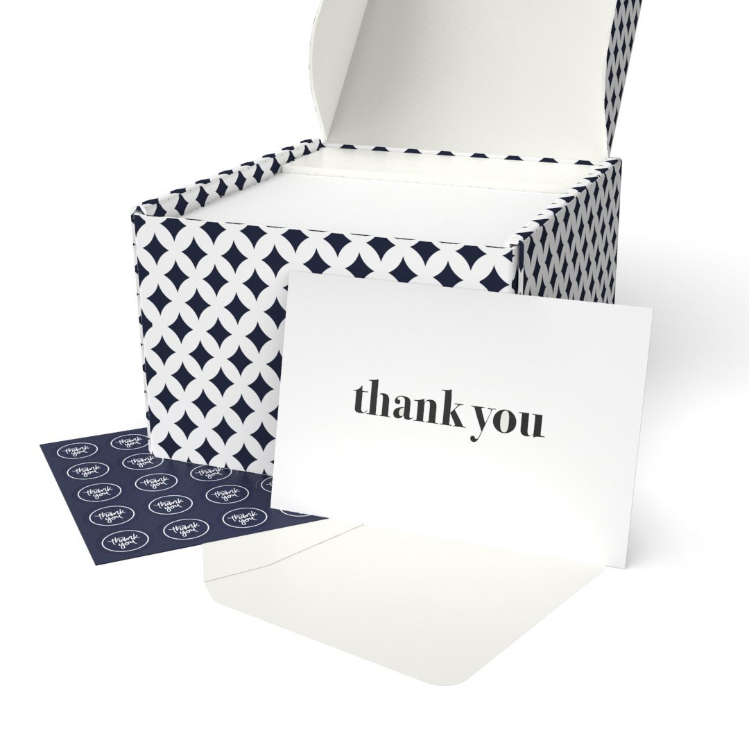 Thank You Cards - 100 Thank You Notes with Envelopes and Sealing Stickers, Letterpress - Greeting Cards Assortment Great for Baby Showers, Birthdays, Weddings, Business by Krafster (100 Cards)