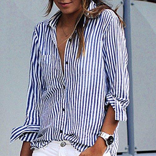 Casual Manches Boutons Top Chemisier 5XL V Classique S Grande Bleu Chemisier Blouse Shirt Col Chemise Hauts Ray Longues Femme Taille Tops gat5xn