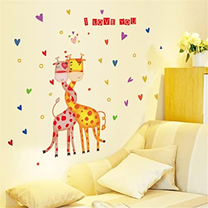 IndButy Wall Stickers Love Giraffe Children Room Kindergarten Classroom Decoration 5070CM