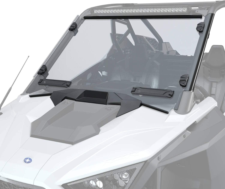 1PCS SAUTVS Clear Folding Full Windshield for Polaris RZR Dustproof Durable Hard Coat Poly Vented Ajustable Full Windshield for Polaris RZR XP 4 1000 Accessories 2019-2021