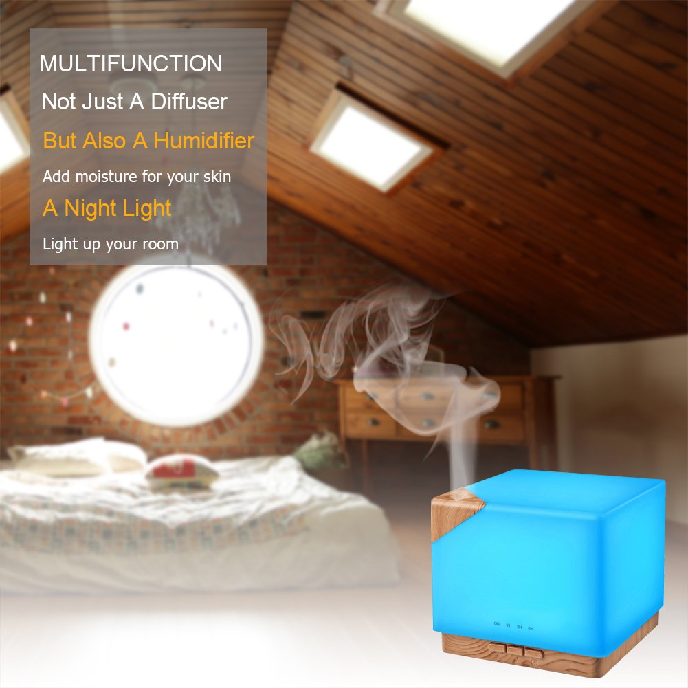 Square Aromatherapy Essential Oil Diffuser Humidifier, 700ml Large Capacity Modern Ultrasonic Aroma Diffusers Running 20+ Hours 7 Color Changing for Home Office Bedroom Living Room Study Yoga Spa by TomCare (Image #4)