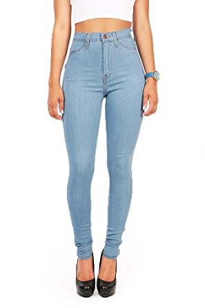 Vibrant Women's Juniors Vintage High Waist Denim Skinny Jeans at ...