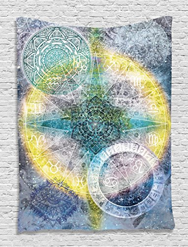 Batik Tapestry Zodiac Wall Decor Astrology Chart Calendar Horoscopes Indian Batik Stars Psychedelic Mandala Hippie Tapestry Hanging Dorm Bedroom Living Room Decorations, Blue Purple Yellow Green