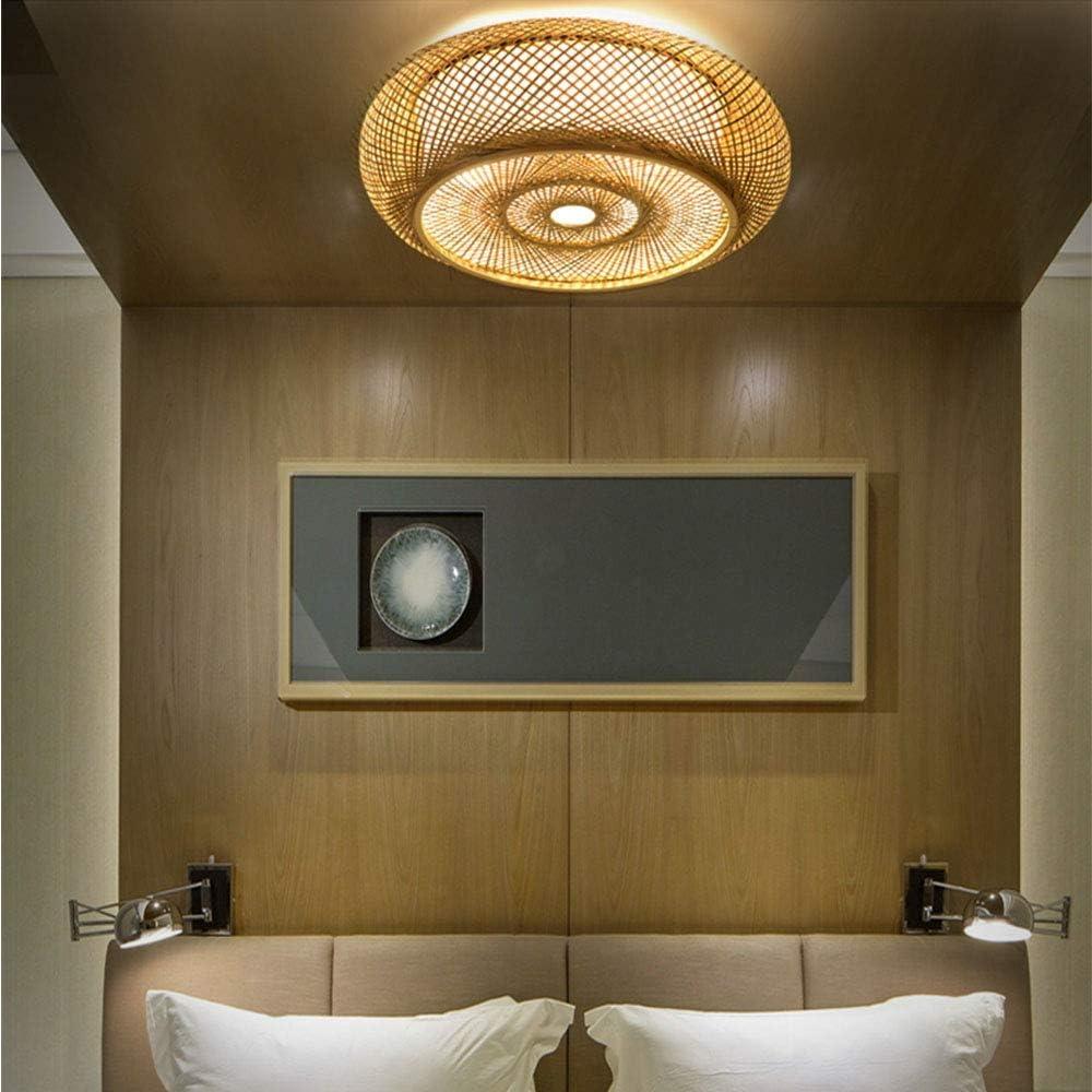 Bambus Kronleuchter Kreative Kronleuchter E27 Bar Cafe Bambus Weben Lampe Schlafzimmer Wohnzimmer Kronleuchter,40CM Bambus Lampenschirm Kronleuchter
