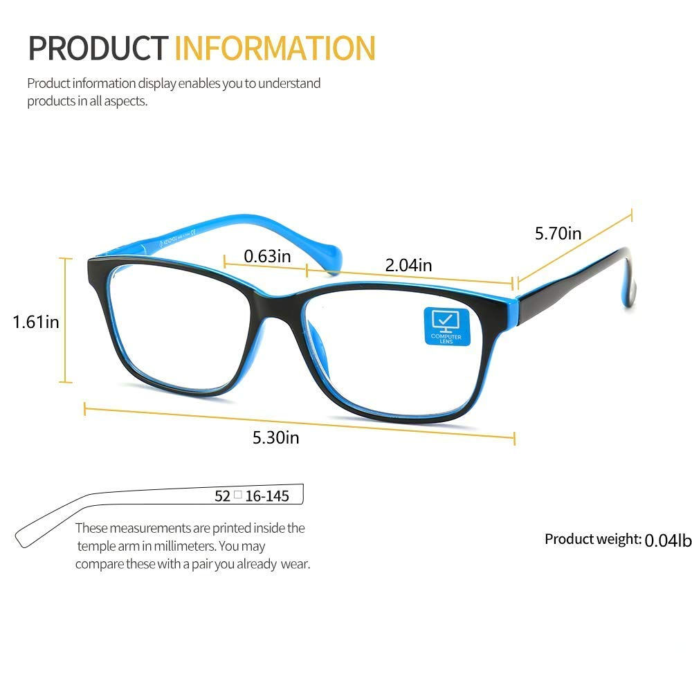 K KENZHOU Blue Light Blocking Computer Glasses 2 Pack Anti Eye Eyestrain Unisex(Men/Women) Glasses with Spring Hinges UV Protection Twilight and Blue by K KENZHOU (Image #8)
