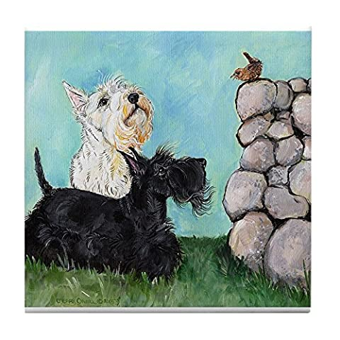 CafePress - Scotties and Wren Tile Coaster - Tile Coaster, Drink Coaster, Small Trivet - Scottie Dog Art