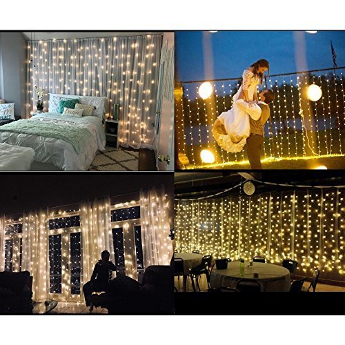 String lights Window Curtain,300 LED Icicle Fairy Twinkle Starry Lights-UL Listed for Indoor and Outdoor, Wedding, Christmas, Home Bedroom Wall Decoration, Party (9.8ftx9.8ft,Warm white) by Brightown (Image #1)