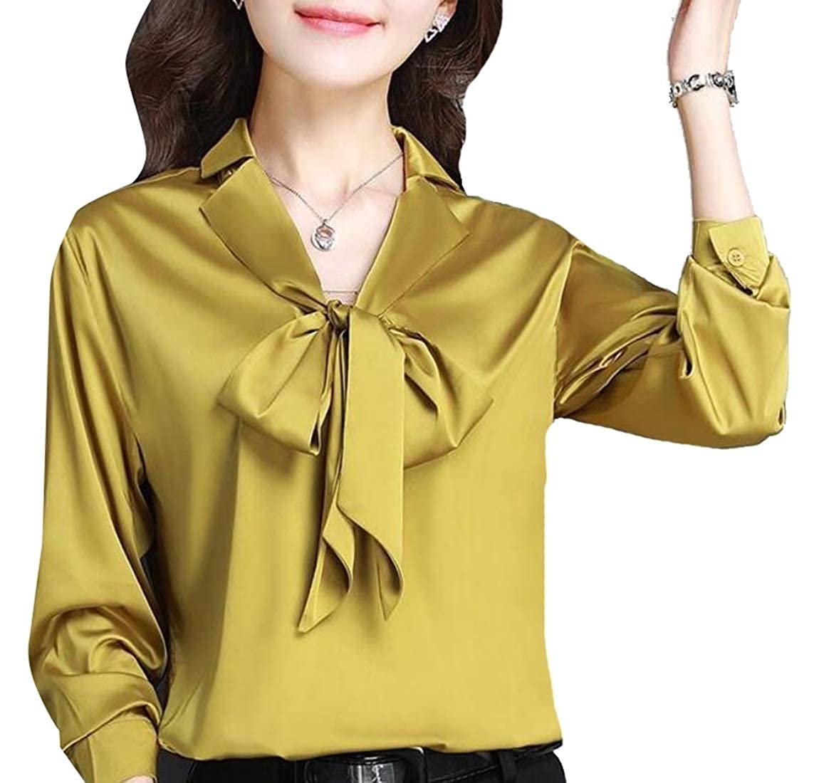 3e42df55 GAGA Women Long Sleeve Bow Tie Neck Plus Size Button Down Shirt Top at  Amazon Women's Clothing store: