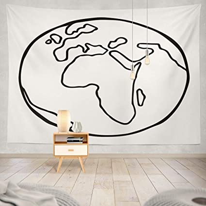 Tapiz de Pared Globo Mapa Plano Doodle Simple Viaje