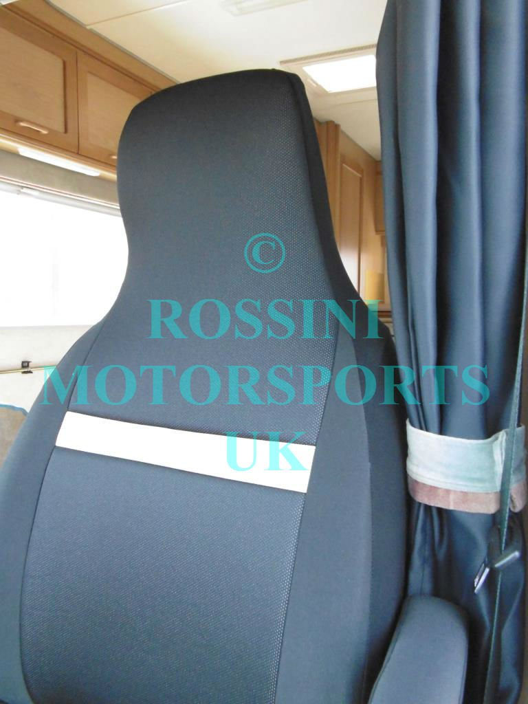 Beige PVC Motorhome Seat Covers Rossini Anthracite 2 Singles
