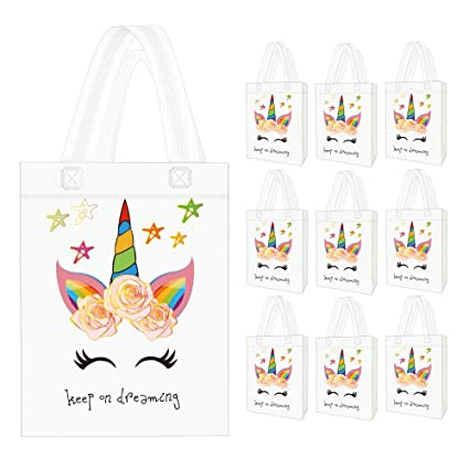 10 Pack Unicorn Party Favor Gift Bags With Dreamlike Design