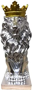 LZLYER Home Decoration Ornaments Statues Sculpture Figurines Statuettes Silver Crown Lion Design Animal Figurines Art Modern Creative Statues Artwork for Garden Corridor Living Room Statuettes Orname