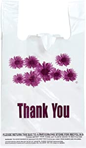 Purple Flower Thank You Plastic t-Shirt Bags - 300 pcs/roll