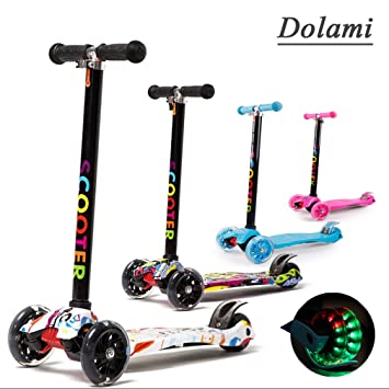 Dolami Twist & Roll Patineta de 3 ruedas para niños con luz LED freestyle mini scooter