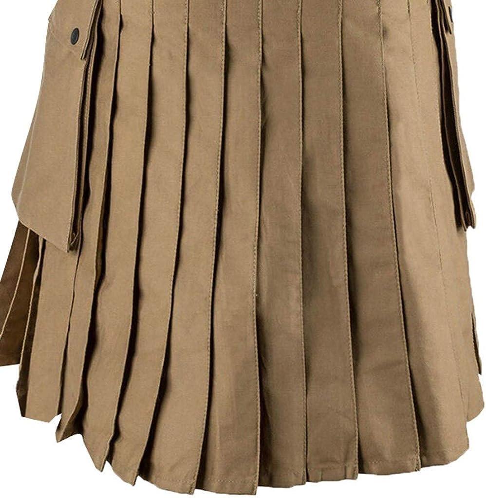 Mens Scottish Utility Kilts Vintage Gothic Pleated Skirts Vintage Scotland Kendo Pocket Scottish Clothing