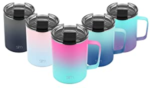 Simple Modern 12oz Scout Coffee Travel Mug Tumbler w/Clear Flip Lid - Cup Vacuum Insulated Camping Flask with Lid 18/8 Stainless Steel Hydro Ombre: Sorbet