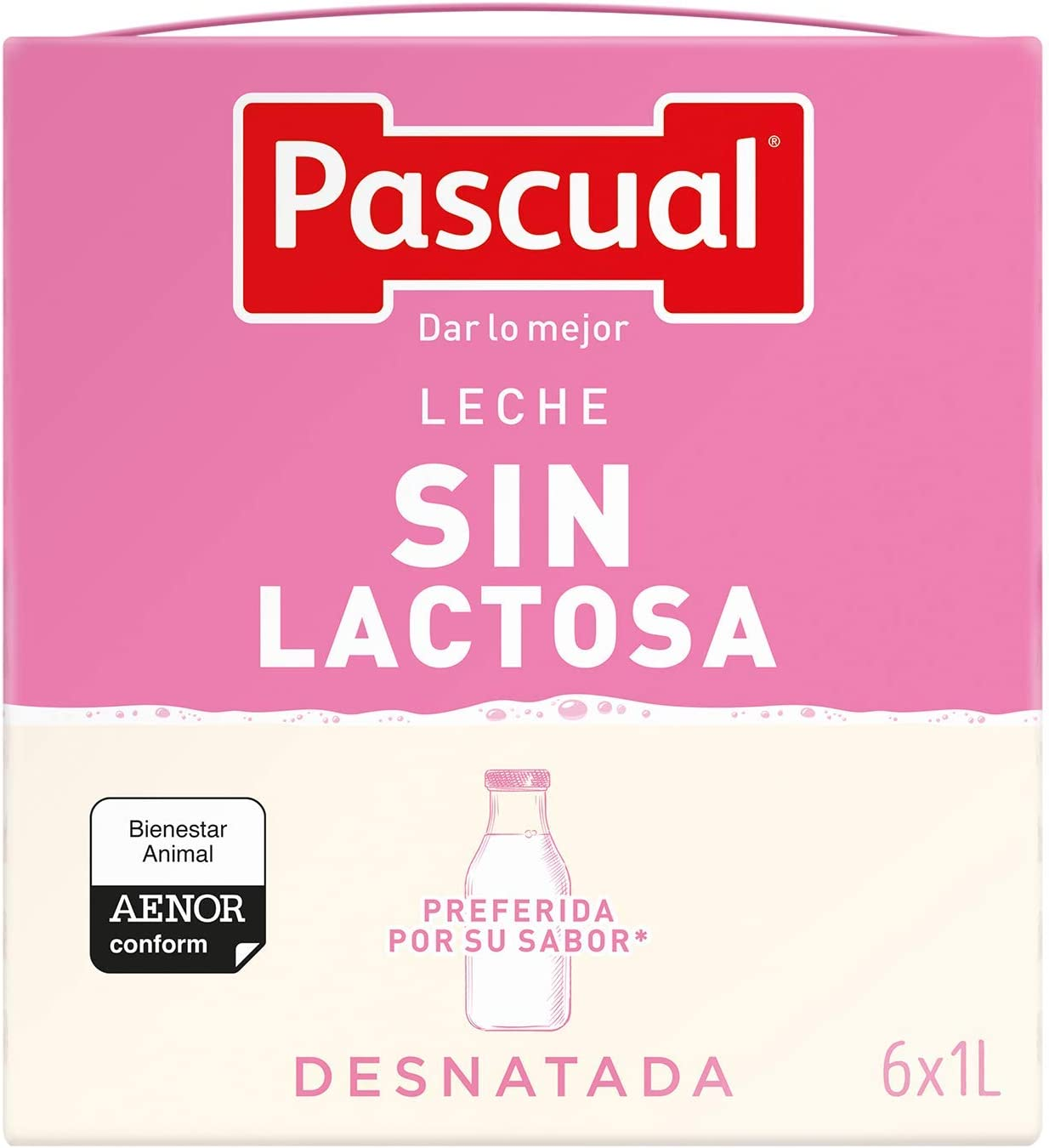 Pascual Leche Sin Lactosa Desnatada - Paquete de 6 x 1000 ml - Total: 6000 ml: Amazon.es: Alimentación y bebidas