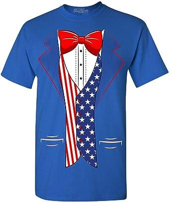 Tuxedo USA Flag Youth Kids T shirt Tops American Flag Tuxedo 4th of July