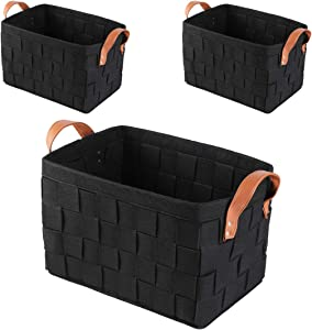 Perber Large Foldable Storage Bin Basket Set [3-Pack] Collapsible Sturdy Felt Fabric Storage Box Cube W/Handles for Organizing Shelf Nursery Home Closet & Office - Black 151010 Set of 3