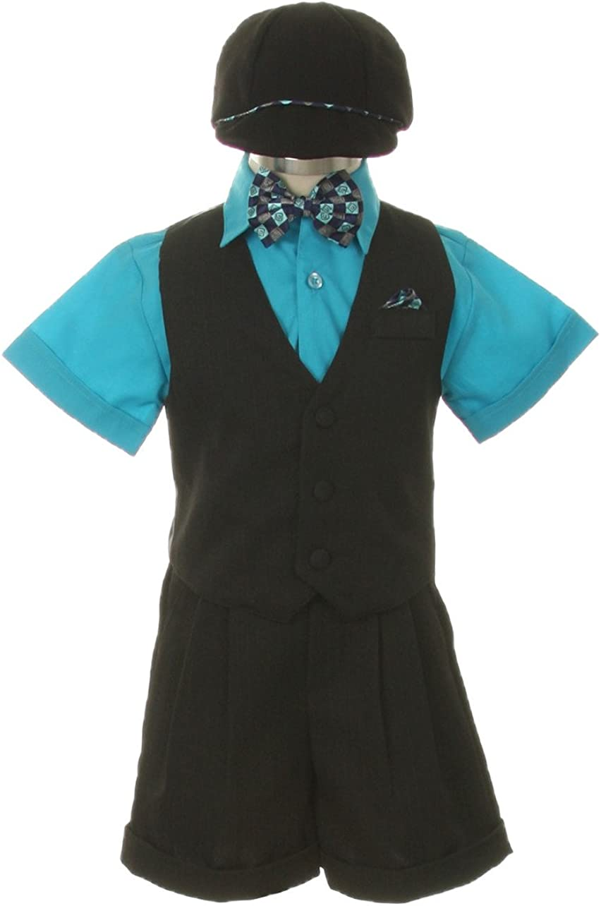 Dress Shorts Suit Tuxedo Outfit Set-Infant Baby Boys /& Toddler,Black-Turquoise