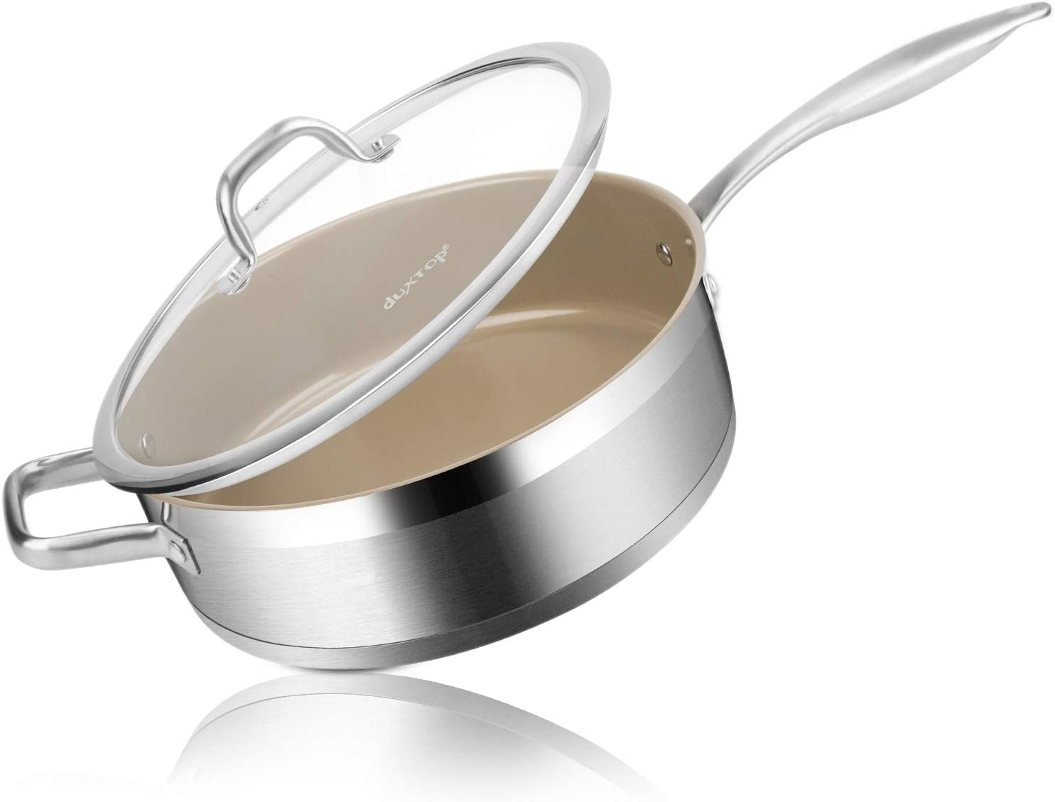 Duxtop Ceramic Non-stick Sauté Pan, Induction Stainless Steel Sauté Pan, 5.5-Qt Deep Skillet with Lid, Professional Grade and Impact-bonded Technology