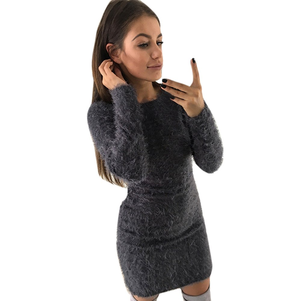 Robemon✬Chandail Pull Robe Femme Automne Hiver Mode Manches Longues Peluche Long Casual Col Round É paissi Sweater Manteau