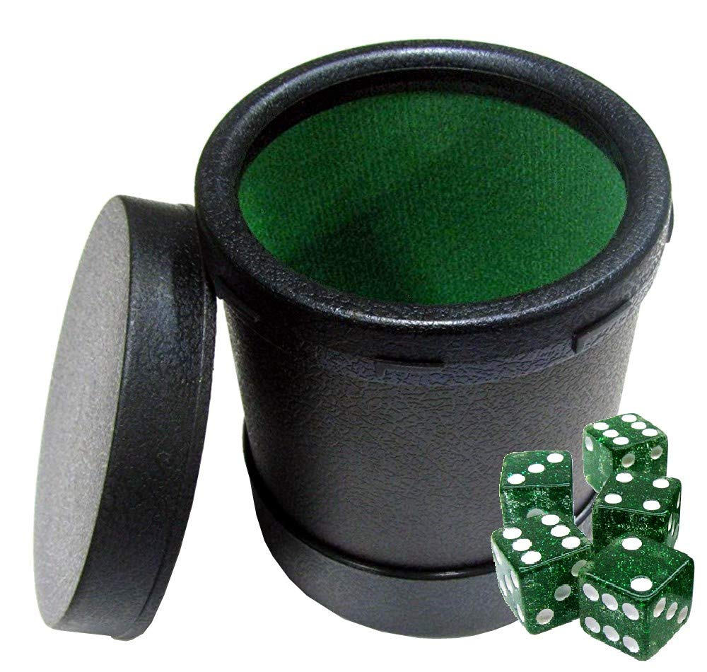 5 Square Corner Transparent Dice Felt Lined Dice Cup with Easy On//Off Lid
