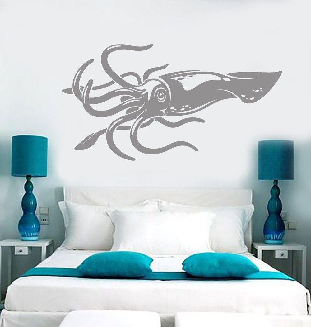 BorisMotley Wall Decal Giant Squid Fishing Vinyl Removable Mural Art Decoration Stickers for Home Bedroom Nursery Living Room Kitchen