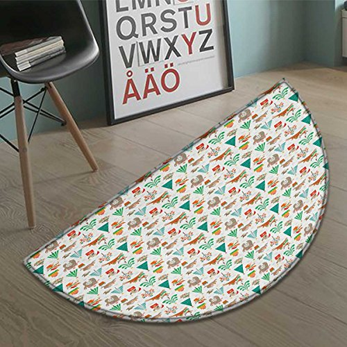 Stevenhome Christmas Bath Mat for tub Baby Kids Theme Xmas Cartoon Pattern Bear Deer Owl Birds Tree Snowflakes Image Half Round door mats for inside Bathroom Mat Non Slip Multicolor size:31.5