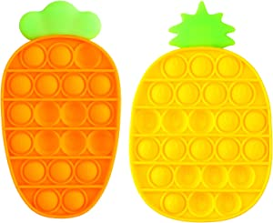 【Update 2021】Sensory Fidget Toys, Pop Push Bubble Special Needs Toys for Kids, Food Grade Silicone Relieving Stress Toys for Adults, Just Bubble Game Sensory Toy for Anxiety (Carrot + Pineapple)