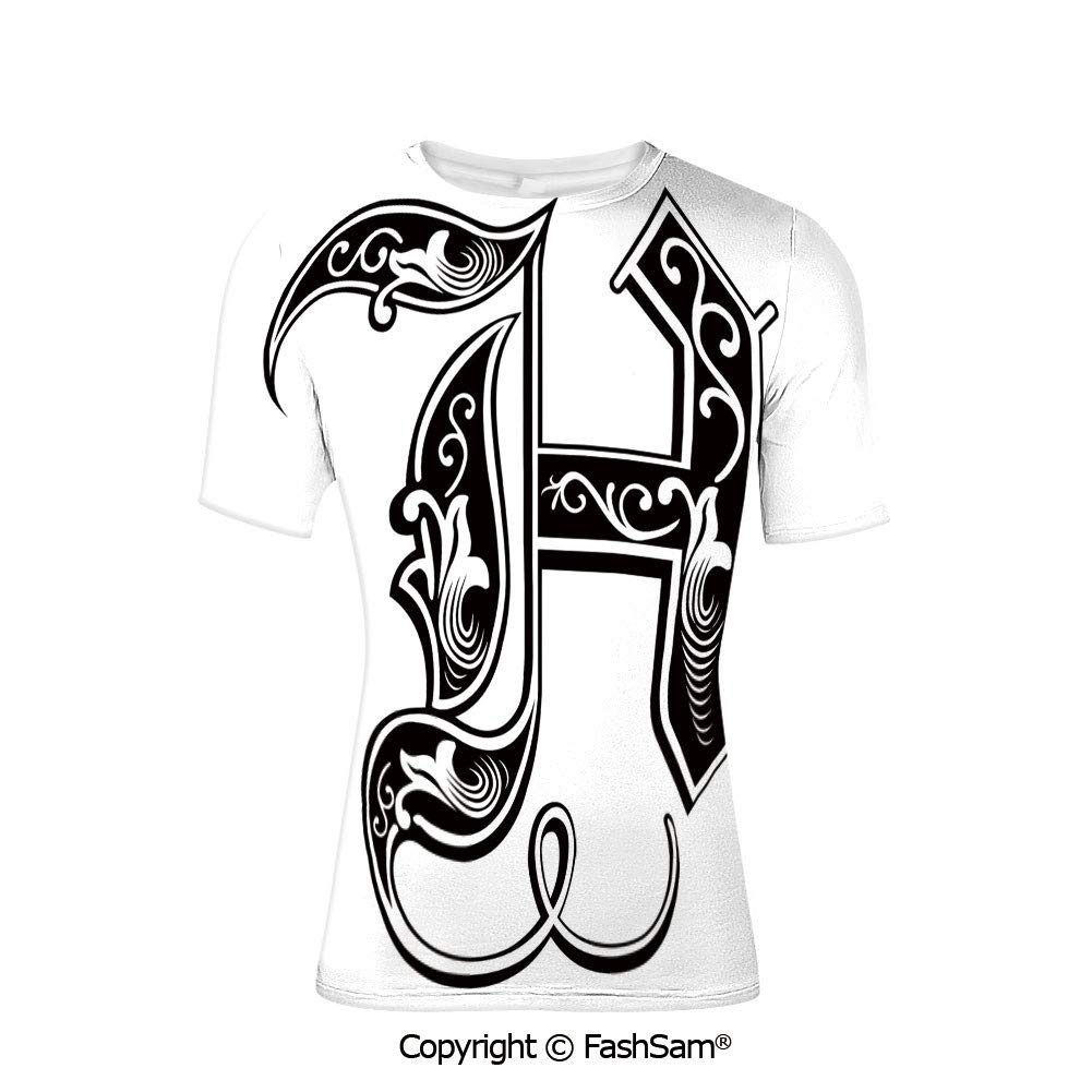 Fashion Printed T-Shirts Majuscule G and Music Inspired Theme Colorful Musical N