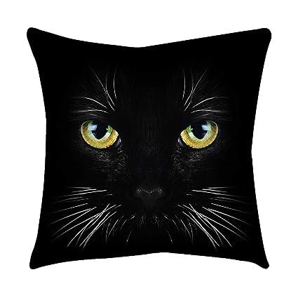 Loolik Fundas de Cojines,Patrón de Ojo de Gato Negro Poliéster Throw Pillow Case Funda de Almohada para Cojín 45x45 CM (J)