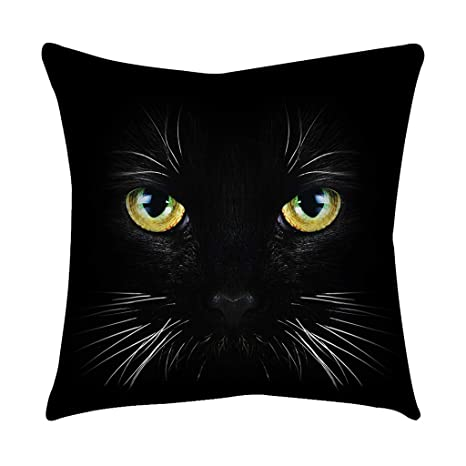 Loolik Fundas de Cojines,Patrón de Ojo de Gato Negro Poliéster Throw Pillow Case Funda