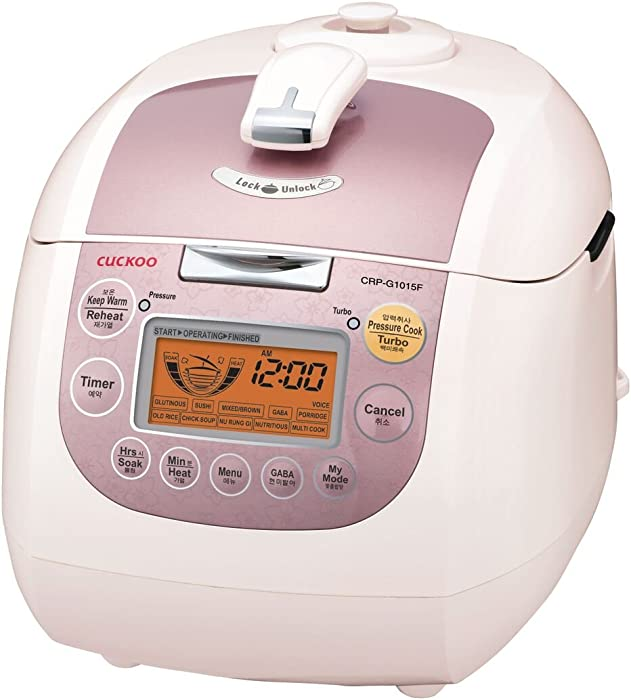 Cuckoo CRP-G1015F 10 cup Multifunctional Electric Pressure Rice Cooker – 15 built-in programs including Glutinous (White), GABA, Multi Cook and more Non-Stick Coating, Made in Korea, Pink/White