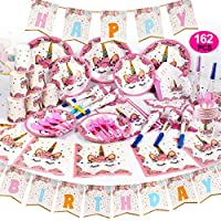 GobiDex 162PCS Magical Unicorn Party Supplies Set Serves Sweet 16 Party Supplies Unicorn Party Favors Decorations Disposable Eco Friendly Plates Cups and Napkins No Wash Up for Party People