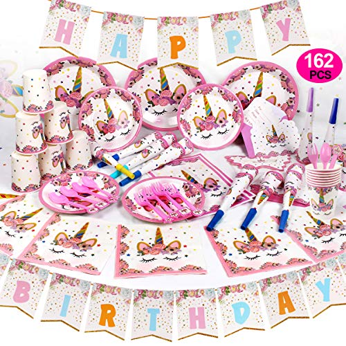 GobiDex 162PCS Magical Unicorn Party Supplies Set Serves Sweet 16 Party Supplies Unicorn Party Favors Decorations Disposable Eco Friendly Plates Cups and Napkins No Wash Up for Party People ()