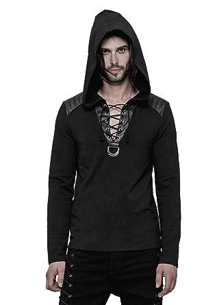 36202f7f118cf2 Punk Rave Top Pull Noir Homme avec Capuche et laçage, Gothique, Man S/