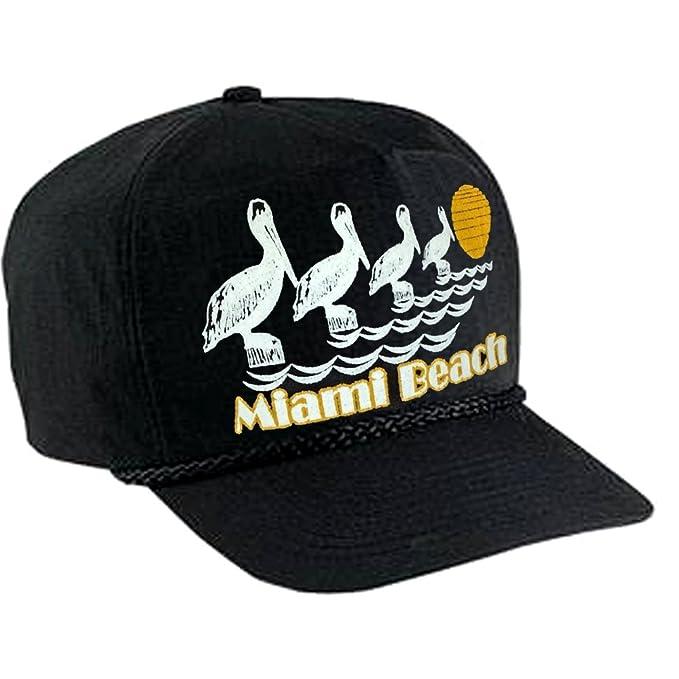 a0fa236b87b Amazon.com  Miami Beach Black Boardwalk Hat Cap Summer Nylon ...
