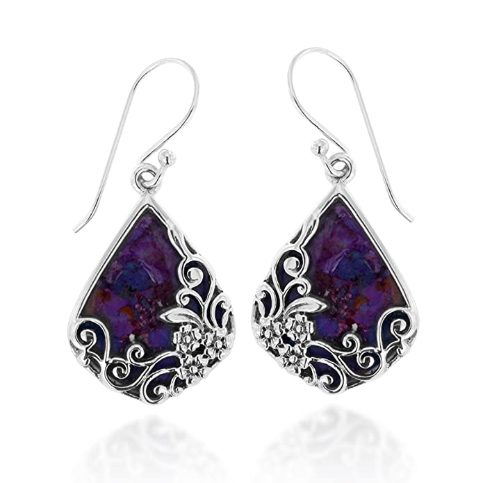 925 Oxidized Sterling Silver Decorative Purple Turquoise Gemstone Triangle Tear Drop Dangle Earrings