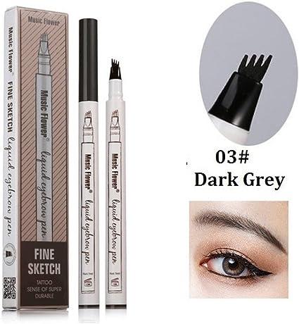 Pluma de cejas de tatuaje, diseño de flor de música, lápiz de cejas de larga duración, color crema de tinte impermeable, a prueba de manchas (gris ...
