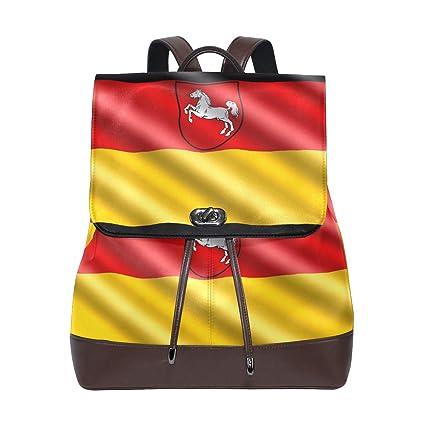 FAJRO- Mochila de Viaje con Bandera Alemana de Piel, Bolso de Mano, Mochila