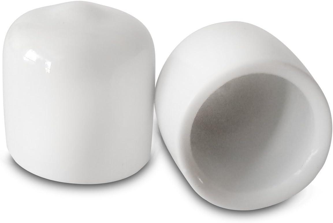 Prescott Plastics 1/2 Inch White Round Vinyl Rubber Cap, FDA Food Grade, Flexible Pipe Post Cover (10)
